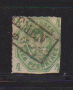 Prusse / N 15 / 4 P Vert / Oblitéré  + Charnière - Preussen
