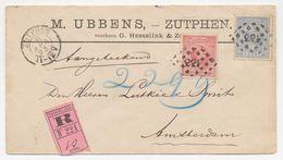 Emissie 1891 Aangetekend Zutphen - Amsterdam 1893 - Period 1891-1948 (Wilhelmina)