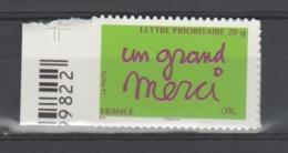 "FRANCE / 2008 / Y&T N° AA 205 ** : ""Un Grand Merci"" (TVP Prio 20g) Adhésif De Feuille Avec Bord - état D'origine - France"