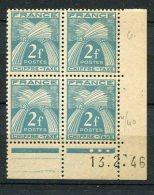 4471 - FRANCE   Taxe  N° 82 **   2F Bleu-vert   Du   13.2.46       TB - Coins Datés