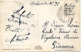 FRODE POSTALE - Messaggio SOTTO Il FRANCOBOLLO - BEDONIA Per PIACENZA - Cartolina FOTOGRAFICA - PANORAMA 3/32 - Storia Postale