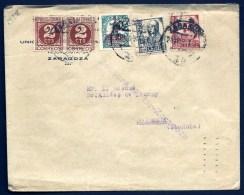 LETTRE D'ESPAGNE- SARAGOZA POUR BORDEAUX- 193 ?- JOLI TIMBRAGE 5 TIMBRES DONT 1 SURCHARGÉ- 1 NON DNTELÉ- 1 PAIRE- - 1931-Today: 2nd Rep - ... Juan Carlos I