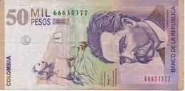 BILLETE DE COLOMBIA DE 50000 PESOS DE ORO AÑO 2008 (BANKNOTE) - Colombia