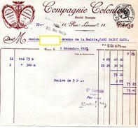 FACTURE COMPAGNIE COLONIALE Chocolat Fondant  Du Planteur *1TIMBRE FISCAL CACHET Passy St Maur   1925 163 - Food