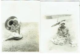 Foto/Photo. Pin Up, Femme Au Parasol, Coxyde 1928. Lot De 2 Photos. Mode. - Pin-up