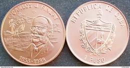 Cuba 1 Peso 1988 Carlos Finlay 1833 -1988 Bust Copper UNC - Cuba