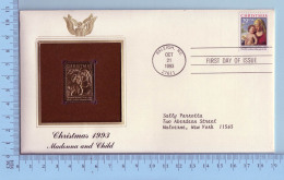 Gold Stamp + Stamp FDC USA  -  Cover Raleigh NC 1993, Christmas , Madona And Child - 2 Scans - 1991-2000