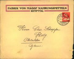 """1915, 10 Rp Privatumschlag Der Firma """"""""MAGGI; Kemptal"""""""", Leichte Mängel. - Dokumente"""