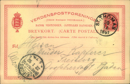 """1891/92, 3 Öre Stationery Card With Clear Strike """"""""ST. THOMAS 20 12 1891"""""""" To Freiburg (Breisgau). With Extensive Text. - Denmark (West Indies)"""