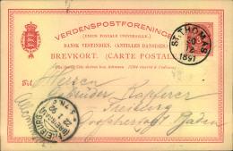"1891/92, 3 Öre Stationery Card With Clear Strike """"ST. THOMAS 20 12 1891"""" To Freiburg (Breisgau). With Extensive Text. - Dinamarca (Antillas)"