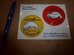 2 Vignettes Auto-collantes -----> Pour Défendre La NATURE Avec Le Commandant COUSTEAU - Organisations