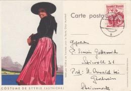 ÖSTERREICH 1949 - 30 Gro Trachten Rot Auf Bildpostkarte COSTUME DE STYRIE (AUTRICHE) - 1945-.... 2a Repubblica