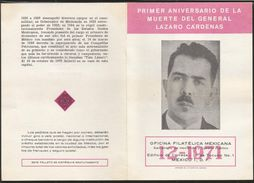 J) 1971 MEXICO, FIRST ANNIVERSARY OF THE DEATH OF GENERAL LAZARO CARDENAS, PETROLEUM TOWERS, SET OF 4 FDC, 1 MAXIMUM CAR - Mexico