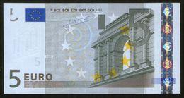 5 Euro 2002 Letter P UNC Trichet Print Code E009 F2 Serial Number P25973213032 - 5 Euro