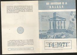 J) 1971 MEXICO, XXV ANNIVERSARY OF THE UNESCO, CIRCLES, SET OF 3 FDC, 1 MAXIMUM CARD AND 3 FDB - Mexico
