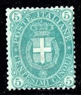 1889  5 Cent. Stemma Verde Minto Scurro  Sass 44b *  MH - Ungebraucht