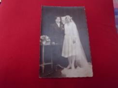 CARTE PHOTO JEUNES MARIES ...PHOTOPOLLET ..BILLY-MONTIGNY 62 - Noces
