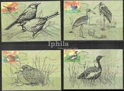 Endangered Birds Indian Max Cards Set Lesser Florican Bush Quail Laughing Thrush Stork Bird Birds Vogel Vögel Oiseaux - Storks & Long-legged Wading Birds