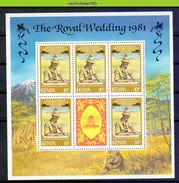 Mf075b KONINGSHUIS LADY DIANA ROYALTY WEDDING PRINCESS DIANA PRINCE CHARLES SHIP LION ZEBRA GIRAFFE KENYA 1981 PF/MNH # - Case Reali