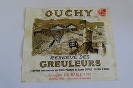 ETIQUETTE DE VIN SUISSE  OUCHY  RESERVE DES GREULEURS  1982 Pecheurs Du Lemans SALVAGNIN BARIL - Etiketten