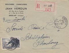 Env Reco Affr Y&T 764 Obl SAINT DIE Du 29.5.1948 Adressée à Schiltigheim - 1961-....
