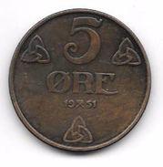 5 Øre Norvège (Norway) 1951 - Norvège
