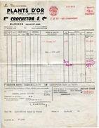 FACTURE PLANTS D OR ETS CROCHETON ET CIE Vins Cidres Spiritueux A MARINES 95 - 1950 - ...