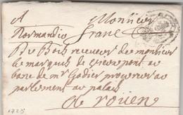 PARIS : Port Payé Fleurdelysé + Franc (man.) Pour Rouen. Lettre Du Marquis De Vieuxpont. - 1701-1800: Précurseurs XVIII