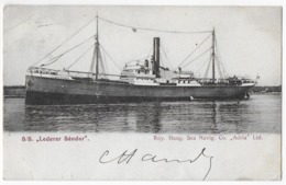 "Cpa Bon Etat ,  Paquebot  S/S  ""LEDERER SANDOR""   Roy. Hung.  Sea  Navig.  Co. ""ADRIA""   Precurseur, Rare , Timbre Verso - Steamers"