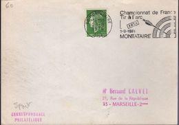 """Lettre Tir à L'Arc 60 Montataire 28-8 1974 O= """" Championnat De France Tir à L'Arc 1-9-1974....."""" - Tir à L'Arc"""