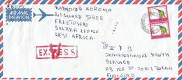 Sierra Leone 1994 Freetown Le200 Sunbird Barcoded Express Cover - Sierra Leone (1961-...)