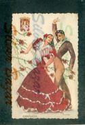 CARTOLINA RICAMATE-RECORDED CARD-CARTE ENREGISTRÉE-FOLK-GRANADA- - Cartoline