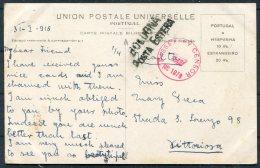1916 Portugal Coimbra Postcard Trancoso - Malta. British + Bologna Censor - 1910-... Republic