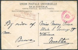 1916 Portugal Madeira Postcard - Malta. British + Bologna Censor - 1910-... Republic