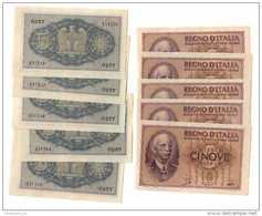 Italy 5 Lire 1940 Da Mazzetta SUP/FDS - From Bundle AUNC/AUNC - Price Prezzo 1 Banknote - [ 1] …-1946 : Kingdom
