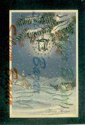 CARTOLINE CON BRILLANTINI-GLITTER POSTCARDS-CARTES POSTALES AVEC BRILANTES-AUGURALI-BUON ANNO-BONNE ANNEE - Cartoline