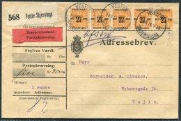 1918 Denmark Adressebrev Remboursement Veste-Skjerninge - Vejle. 4 X 27/29 Ore Orange Postfrim Newspaper Stamp Overprint - Covers & Documents