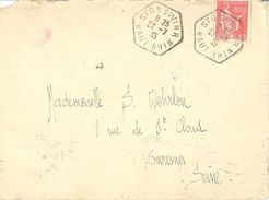 2024 STOSSWHIR Haut Rhin Lettre Entière Yv 283 50 C Paix Rouge Ob Hexagone Pointillé Agence Postale Lautier F4 - Postmark Collection (Covers)