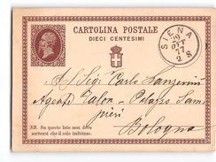 10760 01  CARTOLINA POSTALE 10 CENT. SIENA X BOLOGNA - 1877 - Stamped Stationery