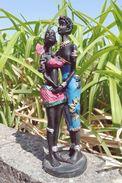ART AFRICAIN #1 Statuette En Bois 15 Cm / AFRICAN ART Couple Wooden Figurine 6'' - African Art