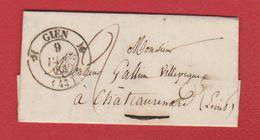 Lettre / De Gien / Pour  Châteaurenard / 8 Décembre 1839 - Postmark Collection (Covers)