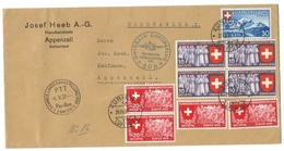 Suisse // Schweiz // Switzerland // Poste Aérienne // Lettre Europaflug De Zurich Pour Appenzell Le 29.04.1939 - Altri Documenti