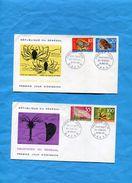 Marcophilie-Sénégal-2 Enveloppes FDC 1968-les Crustacés Du Sénégal-4 Stamps Série N°305-8 - Senegal (1960-...)