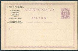 Iceland 8 Ore Lilac Brjefspjald Stationery Postcard H.Th. A. Thomsen Shop Rekvisition Advertising - Postal Stationery