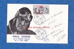 Enveloppe Ancienne Premier Jour Avec Autographe De Paul CODOS Pilote Aviateur Né à IVIERS ( Aisne ) - 1973 - Flugzeuge
