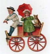 CHROMO Découpis Gaufrée Chocolat Poulain Enfants Garçon Fille Fillette Parapluie Chariot Cariole - Enfants