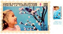 COMITE NATIONAL CONTRE La TUBERCULOSE.1968-1969. VIGNETTE à 3f.+ VIGNETTE à 30 Cts. - Erinnophilie