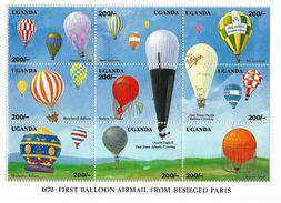 1992 Uganda Ballooning Miniature Sheet Of 9 Balloons MNH - Ouganda (1962-...)
