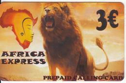 GREECE - Lion, Africa Express Prepaid Card 3 Euro, Sample - Greece