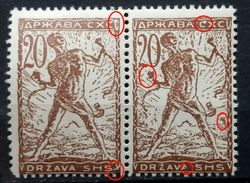 CHAIN BREAKERS-VERIGARI-20 VIN--PAIR-PRINT ERRORS-RARE-SHS-SLOVENIA-YUGOSLAVIA-1919 - Ongebruikt